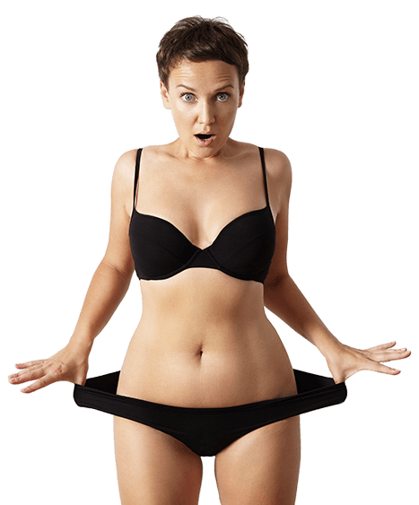 Woman showing how much weight is lost in Brisbane skin clinic